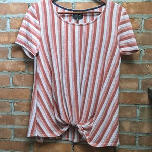 -Anthro- W5 Vertical Striped twist front tee - M
